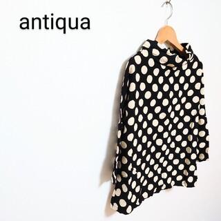 antiqua - ◇【antiqua】antiqua ドットトップス ボトルネックブラウス
