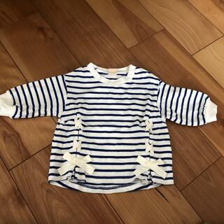 プティマイン(petit main)のプティマイン  マリン柄 リボン シャツ 80(Tシャツ)