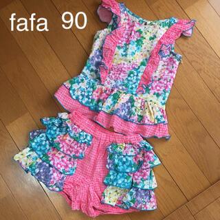 フェフェ(fafa)の美品★fafa★マルチフラワー上下セット 90(Tシャツ/カットソー)