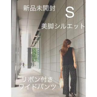 【新品未使用】 真夏も履ける!Ranan 美脚シルエットリボン付ワイドパンツ