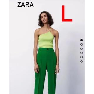 ザラ(ZARA)の新品 今季 完売 ZARA ザラ フルレングスパンツ ハイウエストパンツ  L(カジュアルパンツ)