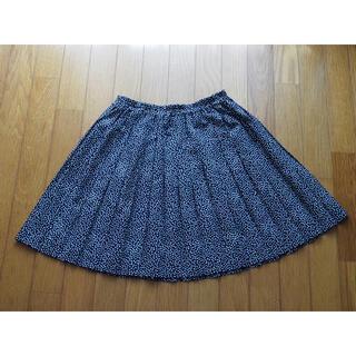 ネイビー 水玉のプリーツスカート