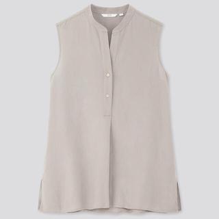 ユニクロ(UNIQLO)のユニクロ リネンブレンドスキッパーシャツ ブラウス(シャツ/ブラウス(半袖/袖なし))