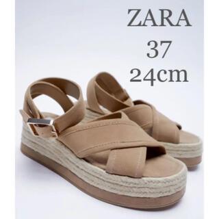 ZARA - 【新品・未使用】ZARA プラットフォーム  ウェッジソール レザー サンダル