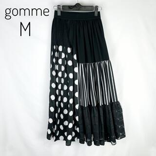 gomme - gomme 異素材切り替えフレアースカート M  ロング マキヒロシゲ 日本製