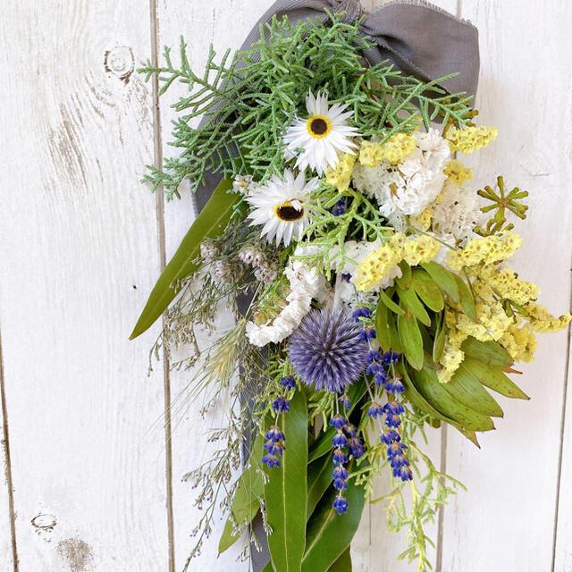 ドライフラワー 夏の涼しげ スワッグ ブーケ ハンドメイドのフラワー/ガーデン(ドライフラワー)の商品写真