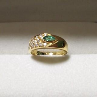 K18 ダイヤモンドリング 指輪 エメラルド 9号サイズ リング