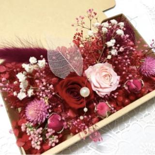 深紅のレッドピンクローズ*花材詰め合わせ(プリザーブドフラワー)