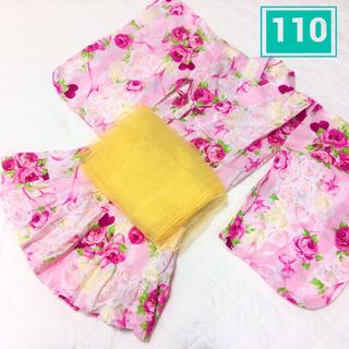 ニシマツヤ(西松屋)の女の子 浴衣 110 甚平 ピンク 花柄 帯付き(甚平/浴衣)