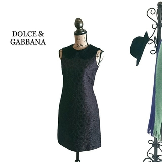 ドルチェアンドガッバーナ(DOLCE&GABBANA)のDOLCE&GABBANA ドルチェ&ガッバーナ ワンピース レース ブラック(ミニワンピース)