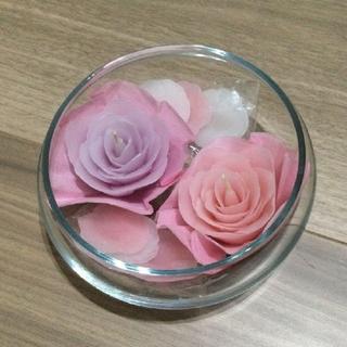 ローズキャンドルとガラスの器 未使用(置物)