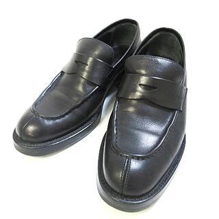 プラダ(PRADA)のプラダ コイン ローファー ヒール レザー ブラック 黒 約23cm(ローファー/革靴)