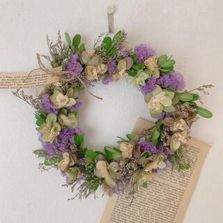 ドライフラワー 柏葉紫陽花とスターチスのリース(リース)