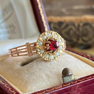 フランス アンティーク 19世紀 天然ガーネット ローズカット 天然真珠 18金