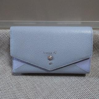 4℃ - 未使用☆4℃ 本革折り財布 三つ折り財布 水色 レザー