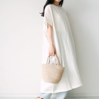 サマンサモスモス(SM2)のリネン後ろ編み上げワンピース(ロングワンピース/マキシワンピース)