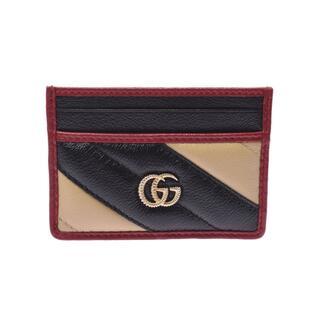 グッチ(Gucci)のグッチ  GGマーモント  カードケース 黒/ベージュ/赤(名刺入れ/定期入れ)