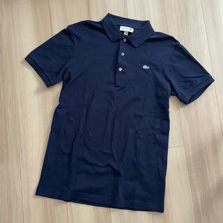 LACOSTE - ラコステ ポロシャツ メンズ スリムフィット 銀ワニ シルバー ネイビー