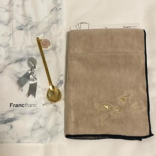 フランフラン(Francfranc)のFrancfranc フランフラン タオル 猫 ティースプーン イニシャル (ハンカチ)