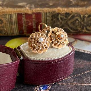フランス アンティーク ドルムーズピアス 18金 天然真珠 鷲の頭の刻印