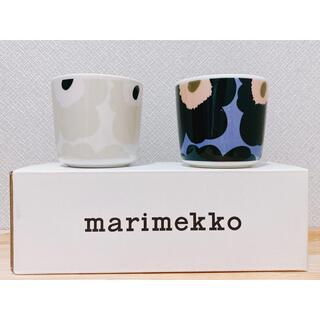 marimekko - マリメッコ ウニッコ ラテマグ ベージュ・ダークグリーン ブルー・ピーチセット