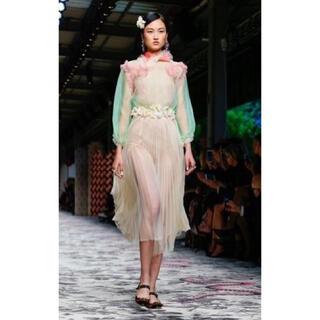 グッチ(Gucci)の《ご成約》GUCCI ランウェイ お花装飾ふわふわシルクシフォンマキシスカート(ロングスカート)