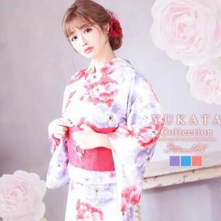 デイジーストア(dazzy store)の花柄 ピンク 水彩アネモネガラ 浴衣 3点セット(浴衣)