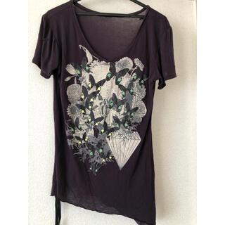 ルグランブルー(LGB)のkmriiケムリ バタフライカットソーパープル(Tシャツ/カットソー(半袖/袖なし))
