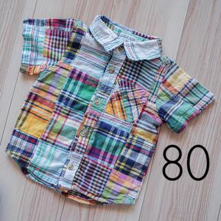 ニシマツヤ(西松屋)のまとめ割100円引♡パッチワークチェックシャツ男の子80西松屋綿100%(シャツ/カットソー)