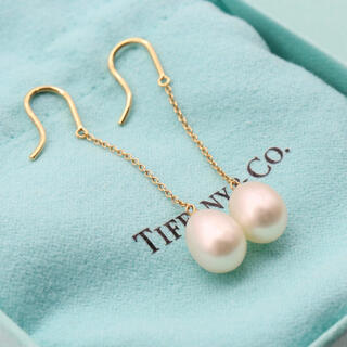 Tiffany & Co. - ティファニー バイザヤード ドロップ パール チェーン ピアス k18