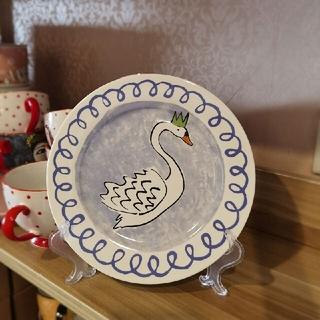 Anthropologie - anthropologie優雅な白鳥。美単軽奢手描き軽骨磁器平皿8寸
