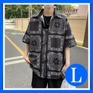 シャツ 半袖 ペイズリー柄 ビッグシルエット オーバーサイズ 黒 L 韓国 夏