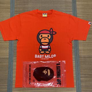 A BATHING APE - APE BAPE KAWS BABY MILO tシャツ tee L オレンジ