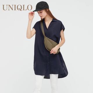 ユニクロ(UNIQLO)のユニクロ リネンブレンドロングシャツ S(シャツ/ブラウス(半袖/袖なし))