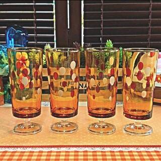 ❤️昭和レトロ❤️ ⭐訳アリ⭐アデリア 脚付き アンバーカラー水玉グラス 4個