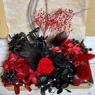 プリザーブドフラワー薔薇2輪★ミッドナイトブラックとレッド 花材詰め合わせ(プリザーブドフラワー)