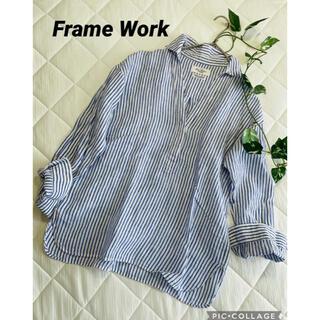 フレームワーク(FRAMeWORK)のフレームワーク ストライプリネンプルオーバーシャツ(シャツ/ブラウス(長袖/七分))