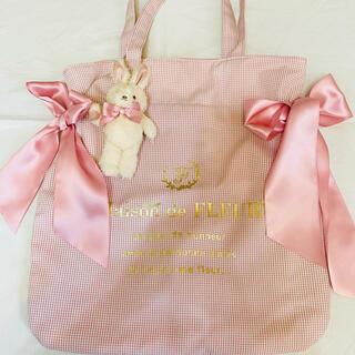 Maison de FLEUR - メゾンドフルール ♡ ラビットチャーム付きダブルリボントートバッグ ピンク