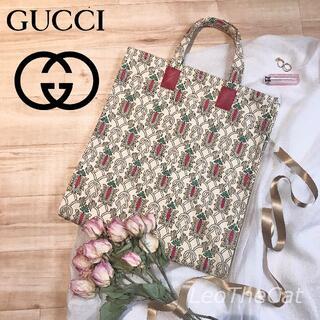 Gucci - 新品♪グッチガーデン限定!マチ有キャンバストートバッグ レオナルド柄 日本未入荷