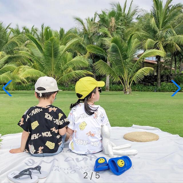GU(ジーユー)のトムジェリー 総柄 Tシャツ 半袖 110 キッズ/ベビー/マタニティのキッズ服男の子用(90cm~)(パジャマ)の商品写真
