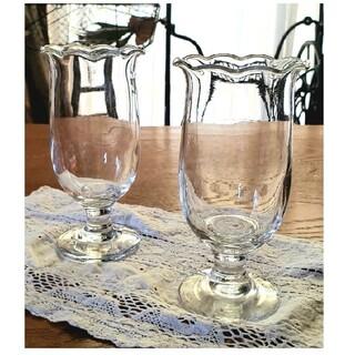 トウヨウササキガラス(東洋佐々木ガラス)の佐々木ガラス 昭和レトロ レトロポップ 脚付き グラス パフェ皿 2個セット (グラス/カップ)