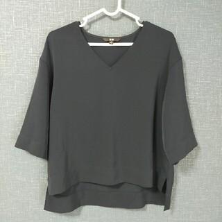ユニクロ(UNIQLO)のユニクロ ドレープVネックブラウス(5分丈)(シャツ/ブラウス(半袖/袖なし))