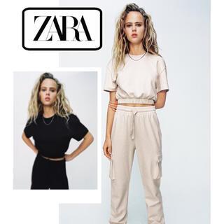 ZARA - 新品タグつき!ZARA クロップドスウェットシャツ 黒 ショート丈