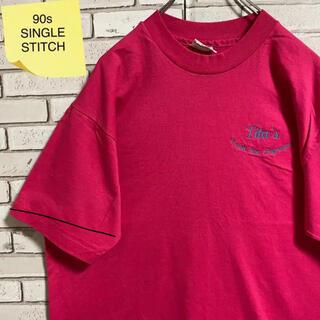 90s 古着 ヘインズ USA製 XL 刺繍  シングルステッチ ゆるだぼ(Tシャツ/カットソー(半袖/袖なし))