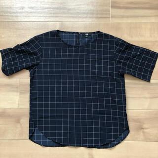ユニクロ(UNIQLO)のユニクロ トップス ネイビーチェック(シャツ/ブラウス(半袖/袖なし))