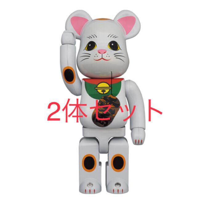 MEDICOM TOY(メディコムトイ)のBE@RBRICK 招き猫 白メッキ 発光 400% エンタメ/ホビーのフィギュア(その他)の商品写真