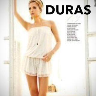 デュラス(DURAS)の新品未使用!デュラス サテン風レースのオールインワン(アイボリー)(オールインワン)