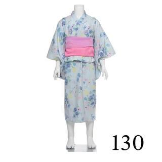 メゾピアノ(mezzo piano)の【新品】メゾピアノ 浴衣 花 130 水色(甚平/浴衣)