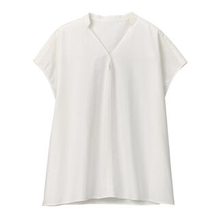 ムジルシリョウヒン(MUJI (無印良品))の新品 無印良品  インド綿高密度織りブラウス  ONE SIZE(シャツ/ブラウス(半袖/袖なし))