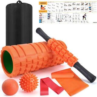 ヨガポールフォームローラー 筋膜リリースマッサージボール 7点ローラー式セット